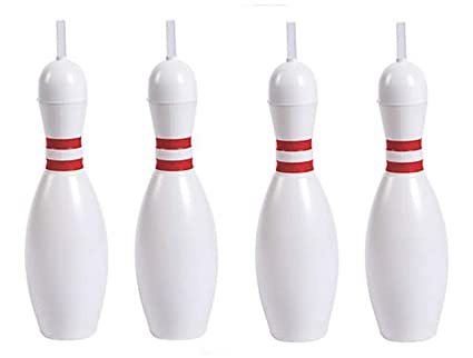 Pack of 4 Bowling Pin Sports Sipper Straw Bottles Large 22 Oz.