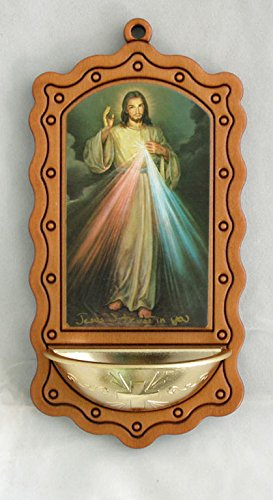 A Divine Mercy holy water font in wood-tone with a gold bowl, 3.5x7inches. Made in Italy. by GSV001