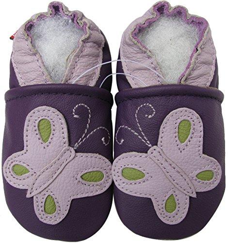 Carozoo Soft Sole Leder Baby Schuhe Crawling Schuhe Laufschuhe Krippenschuhe Enfants Pantoffeln Neugeborene Jungen Mädchen Kinder Schuhe (0-6 Monate bis 7-8 Jahre) Butterfly Purple