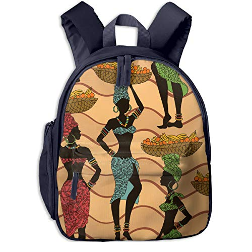 African American Woman With Fruit Double Zipper Waterproof Children Schoolbag With Front Pockets For Youth Boy Girl ()