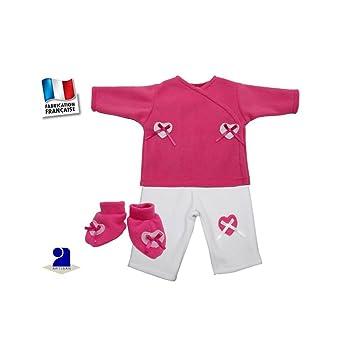 df834c280bcc2 Poussin Bleu - Vêtement bébé  Ensemble fille 1 mois rose et blanc ...