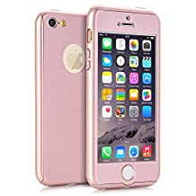 iPhone 5S Case, KAMII Ultra Thin Full Body Coverage Protection 360 Degree All-round Protection Hard Slim Case for iPhone 5S with Tempered Glass Screen Protector (Rose Golden)