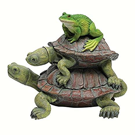 Design Toscano In Good Company Frog And Turtles Garden Animal Statue, 11  Inch, Polyresin