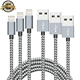 iPhone Cable Aonsen 3Pack 3FT 6FT 10FT Charging Cord Nylon Braided 8 Pin to USB Lightning Charger for iPhone 7,SE,5,5s,6,6s,6 Plus,iPad Air,Mini,iPod,Compatible with iOS10(Space Gray)