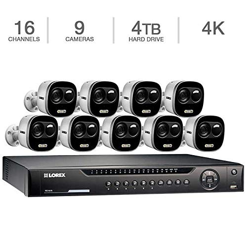 Lorex 16-Channel 4K UHD NVR Surveillance System with 4TB HDD and 9 4K Active Deterrence ()