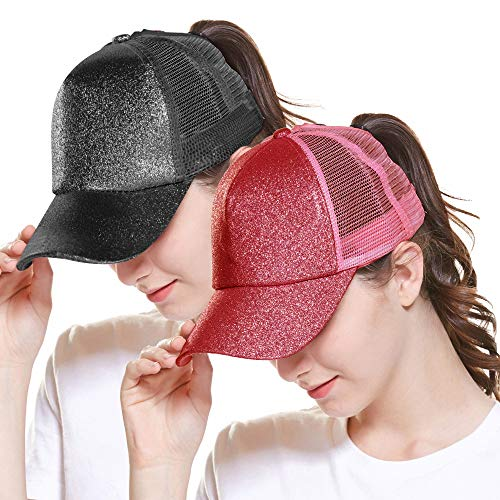 ZOORON Ponytail Hat Baseball Cap for Women Novelty Glitter Messy High Bun Trucker Hat Ponycaps Plain Baseball Visor Cap (2pack-Black&red)