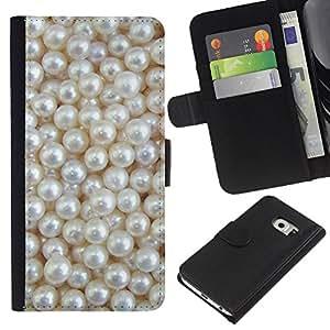 KingStore / Leather Etui en cuir / Samsung Galaxy S6 EDGE / Blanca Rich joya de la perla de la gema