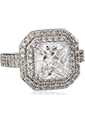 """CZ by Kenneth Jay Lane """"Classic"""" Emerald Cubic Zirconia Double Tiered Ring, Size 6, 6 CTTW"""