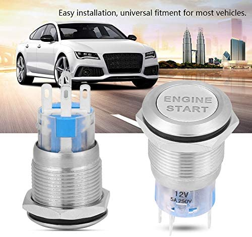 12v Auto Motor Start Stop Druckschalter Motor Startknopf Universal Wasserdicht Zündung Starter Silber Auto