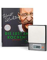 Medisana KS 200 digitale Küchenwaage inklusive Horst Lichter Kochbuch Die Lust am Kochen 99544, mit TARE-Funktion aus Edelstahl
