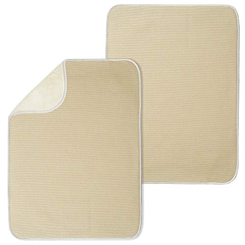 (mDesign Ultra Absorbent Reversible Microfiber Dish Drying Mat and Protector for Kitchen Countertops, Sinks - Folds for Compact Storage - Extra Large, 2 Pack - Tan/Ivory)