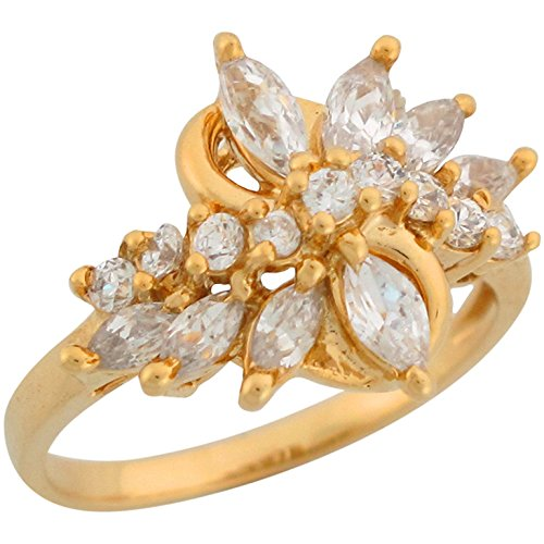 14k Yellow Gold White CZ Contemporary Starburst Design Ladies Ring 14k Yellow Gold Starburst