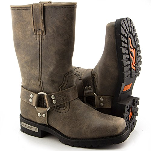 Xelement LU1604 Mens 13in Stone Wash Brown Leather Harness Motorcycle Boots - 9 1/2