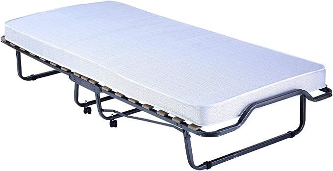 PROHEIM Cama para Invitados Plegable Premium 90 x 200 cm con colchón incluído - Cama Plegable con armazón de Metal Estable y Ruedas (hasta 100 kg ...