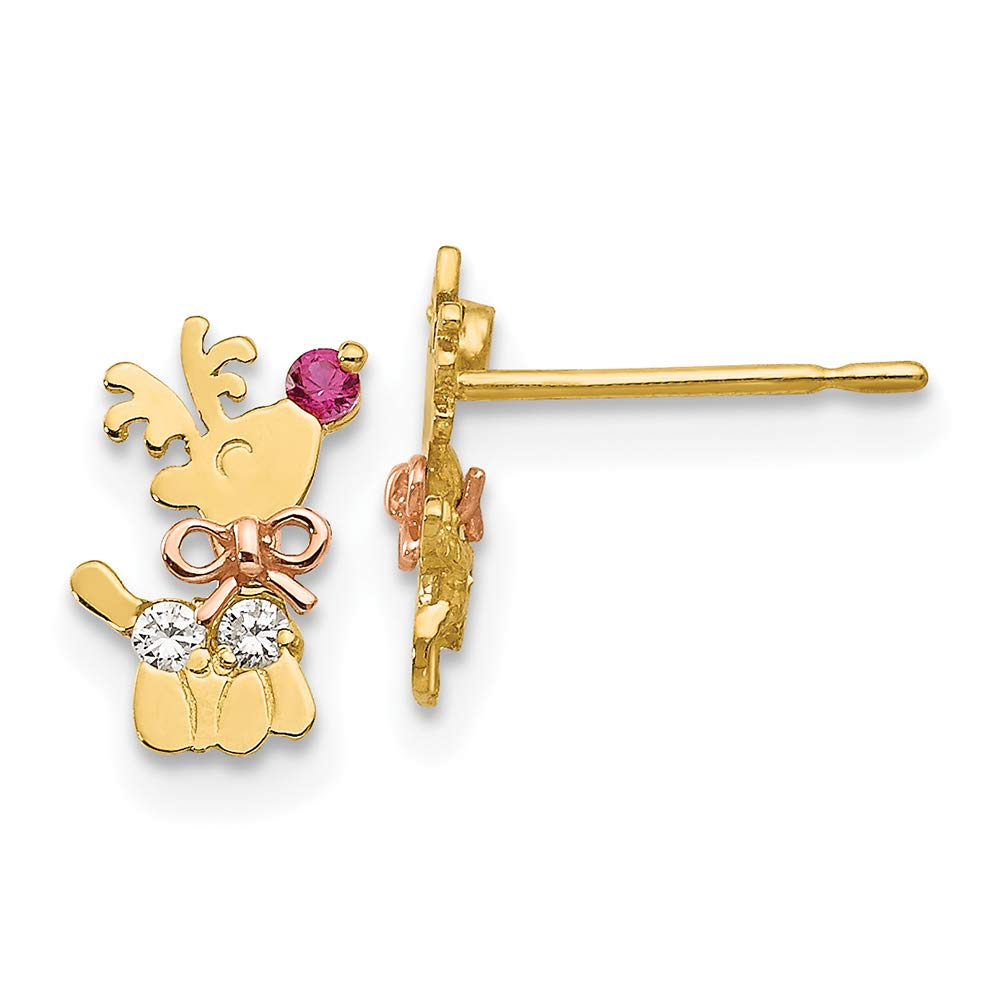 14K Rose And Yellow Gold Madi K Childrens 6 MM CZ Reindeer Post Stud Earrings