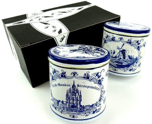 Stroopie Stroopwafels, 8.8 oz Delft Tins in a Gift Box (Pack of 2)