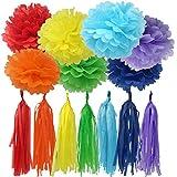 Bobee Rainbow Party Decorations 42 piece Rainbow Pom Poms and Tassel Garland