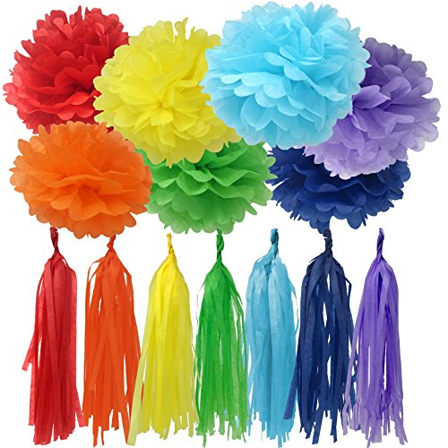 Bobee Rainbow Party Decorations 42 Piece Rainbow DIY Pom Poms and Tassel Garland]()