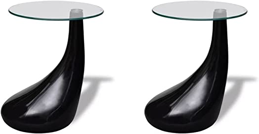 Festnight Set of 2 Round Shape Coffee Table Clear