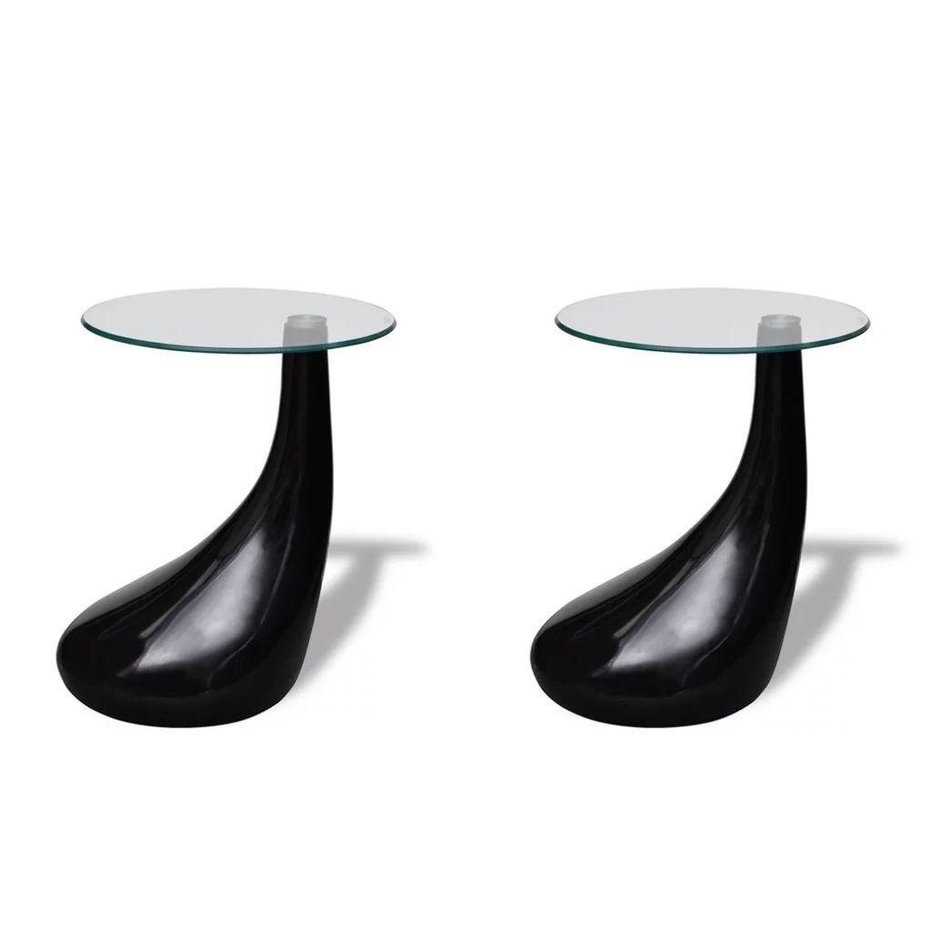 Festnight Set of 2 Round Shape Coffee Table Clear with Glass Top and Teardrop Stand End Side Table Living Room Home Office Furniture (Black) by Festnight