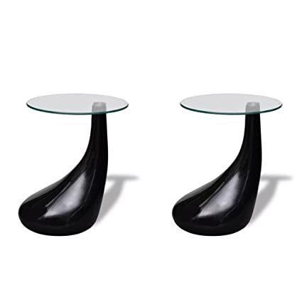 0bba9c65e43c Amazon.com  Festnight Set of 2 Round Shape Coffee Table Clear with Glass  Top and Teardrop Stand End Side Table Living Room Home Office Furniture  (Black)  ...