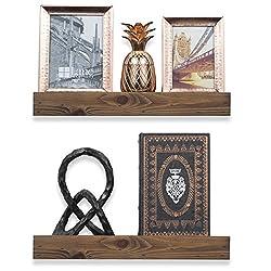 ArtifactDesign Wood Floating Wall Ledge Shelf Walnut Finish 17 Inches Set of 2