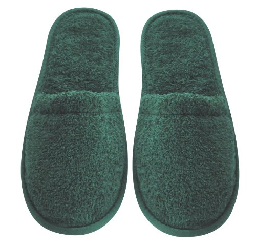 Arus Womens Turkish Organic Terry Cotton Cloth Spa Slippers One Size Fits Most, Hunter Green with Black Sole