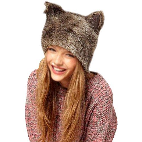 YAOSEN Women Faux Fur Hat with Ears Winter Ear Warmer Earmuff]()