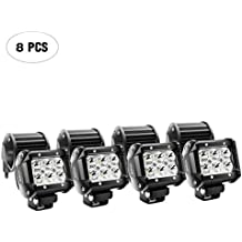 Nilight LED Light Bar 8PCS 18W 1260lm Spot led pods Driving Fog Light Off Road Lights Bar Jeep Lamp,2 years Warranty