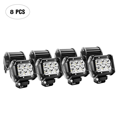 Nilight NI 06A-18W 8PCS 18W 1260lm Spot led pods Driving Fog Road Lights Bar Jeep Lamp,2 Years ()