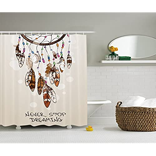 Ambesonne Native American Southwest Decor Shower Curtain By Never Stop Dreaming Feathers And Colorful Beads For Good Luck Polyester Fabric Bathroom