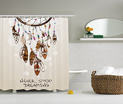 Native American Southwest Decor Shower Curtain by Ambesonne, Never Stop Dreaming Feathers and Colorful Beads for Good Luck, Polyester Fabric Bathroom Decor Set with Hooks, Beige and Brown