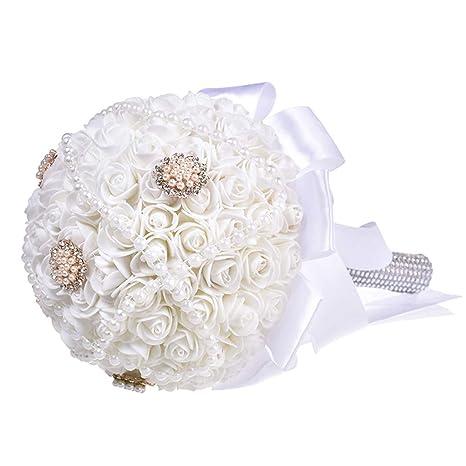 Amazon Com Mikilon Wedding Bouquet Big Size White Bridesmaid