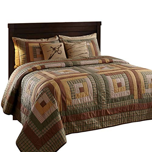 (The BitLoom Co. Rustic & Lodge Quilts, Tallmadge Log Cabin 3 Piece Quilt Set, King)