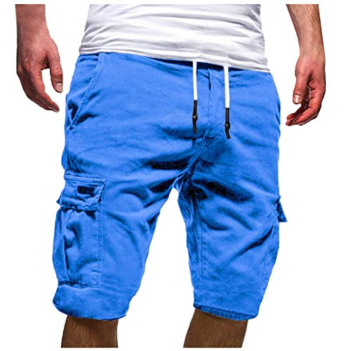 WOCACHI Mens Cargo Shorts Jogger Pants Twill Chino Drawstring Elastic Sports Short Pants Trousers Casual Loose 2019 Summer Sweatpants Solid Color Prime Hot Sale Under 10 Dollars Boyfriend Gift (Best Mens Bootcut Jeans 2019)