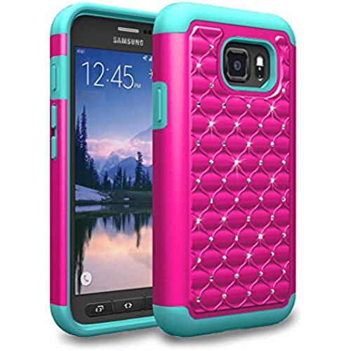 S7 Active Case, Kaesar Dual Layer Studded Rhinestone [Spot Diamond] Crystal Bling Silicone Rubber Skin Hybrid Armor Defender Case Cover for Samsung Galaxy Sales