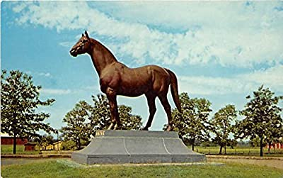 Man O War Statue, Faraway Farm Lexington, Kentucky, KY, USA Old Vintage Horse Racing Postcard Post Card