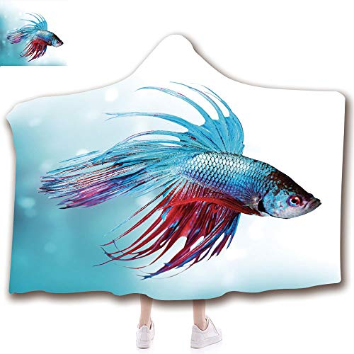 Aquarium Deluxe Game (Fashion Blanket Ancient China Decorations Blanket Wearable Hooded Blanket,Unisex Swaddle Blankets for Babies Newborn by,Fish Swimming in Aquarium Aggressive Sea Animal,Adult Style Children Style)