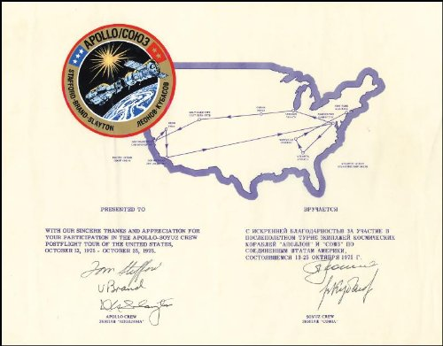 Apollo - Soyuz Crew - Diplomatic Appointment Signed 10/1975 with co-signers