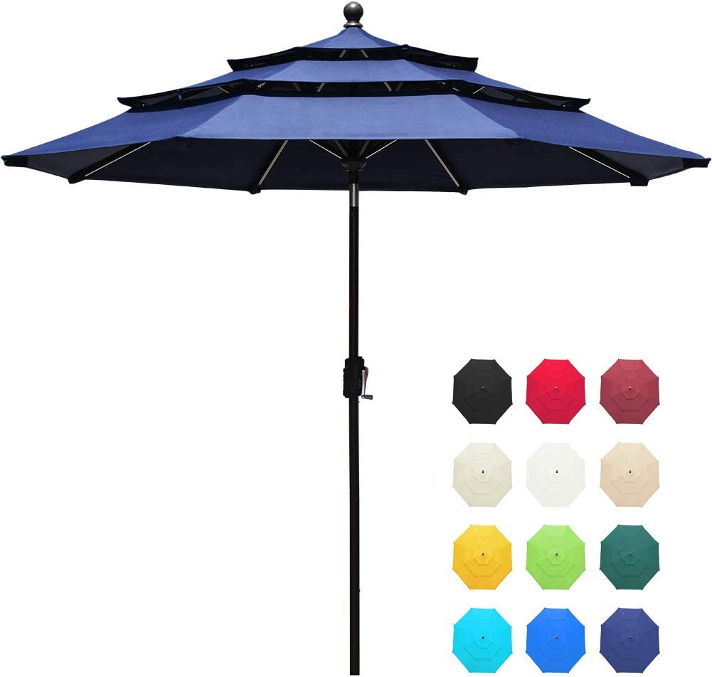 EliteShade Acrylic 9Ft 3 Tiers Market Umbrella Patio Outdoor Table Umbrella with Ventilation and 5 Years Non-Fading Guarantee,Navy Blue