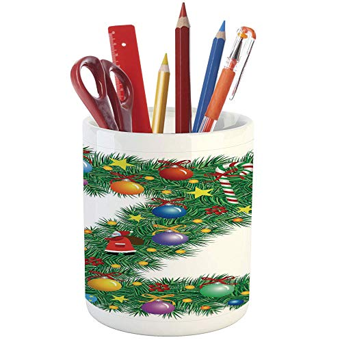 - Pencil Pen Holder,Letter Z,Printed Ceramic Pencil Pen Holder for Desk Office Accessory,Traditional Themed Font Design Z with Colorful Ornaments Christmas Santa Claus Decorative