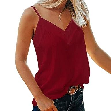 Camiseta de tirantes para mujer, color vino tinto, cuello en V ...