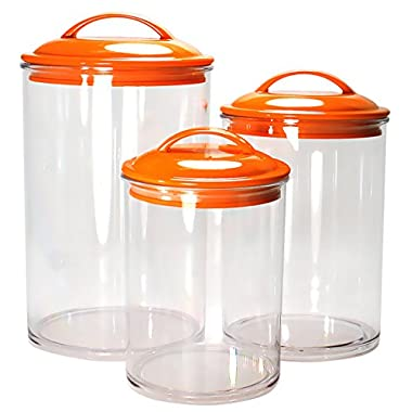 Reston Lloyd 3-Piece Calypso Basics Acrylic Canister Set, Orange