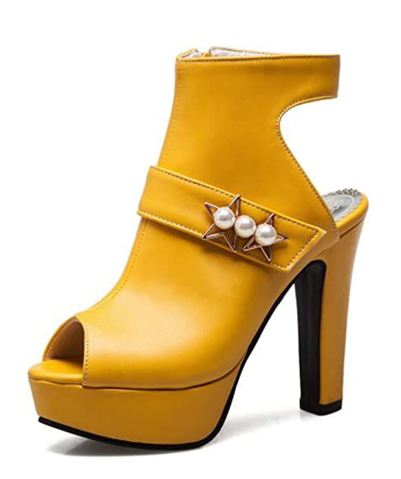 1635dde5aa192 Easemax Damen Modern Peep Toe Reissverschluss Künstliche Perlen ...