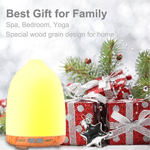 Aromatherapy Essential Oil Diffuser, Iextreme 120ml Aroma Diffuser Wood Grain Ultrasonic Cool Mist Humidifier 8 LED lights with Waterless Auto Shut-Off for Home Spa Baby Bedroom, 2Pack …