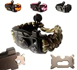 Paracord Bracelet - Survival Bracelet - Emergency Gear Men Women Kid Girl - MINI MULTI TOOL CARD - Scrapper - Whistle - Compass - Flint Fire Starter - Fahrenheit Thermometer - Hiking Camping (Camo)
