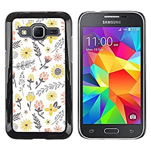 Paccase / SLIM PC / Aliminium Casa Carcasa Funda Case Cover para - Flowers Yellow Happy White Peach - Samsung Galaxy Core Prime SM-G360