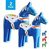 "Reoean Set of 2 Hand Painted Swedish Wooden Dala Horse Figurine (Blue) 9.4""/6.3"""