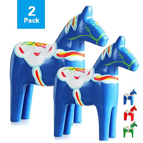 Reoean Set of 2 Hand Painted Swedish Wooden Dala Horse Figurine (Blue) ()
