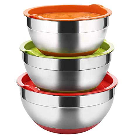 Stainless Steel Mixing Bowls with Lids (Set of 3), Non Slip Colorful Silicone Bottom Nesting Storage Bowls by Regiller, Polished Mirror Finish For ...